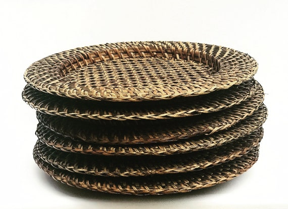 Vintage Rattan Chargers set 6 Rustic Decor Bamboo Wicker Serving Tray Vintage rustic round  Farmhouse Decor  boho plates bohemian table