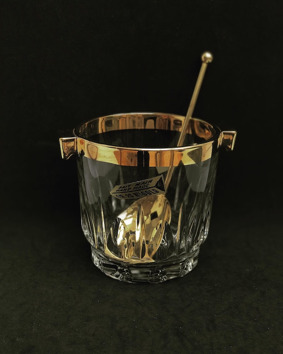 Ice Bucket heavy cut crystal  French with golden metal handles Mid Century barware  Mixology tools bar cart Hollywood Regency man cave gift