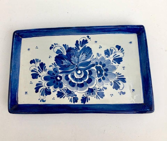 Delft hand painted tray. Signed PKG. Keramos. Blue, small tray, blue, Delft blue plate dish