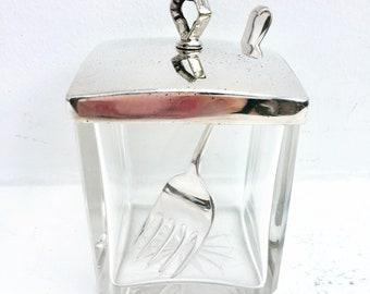 Antique Clear Glass Jam Pot Jelly Preserve Jar Sardine box  Plated Mustard Pot,  Condiment Jar with Lid  Bowl Farmhouse Shabby Cottage Chic