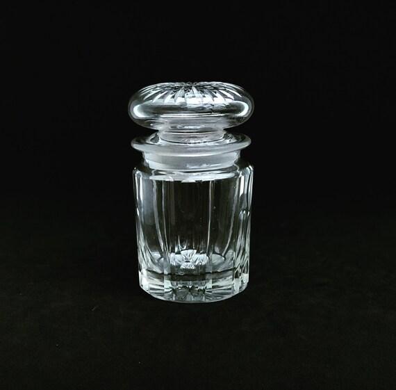 Antique Clear Glass Jam Pot Jelly Preserve Jar box Mustard Pot,  Condiment Jar with Lid Bowl Farmhouse Shabby Cottage Chic Victorian English