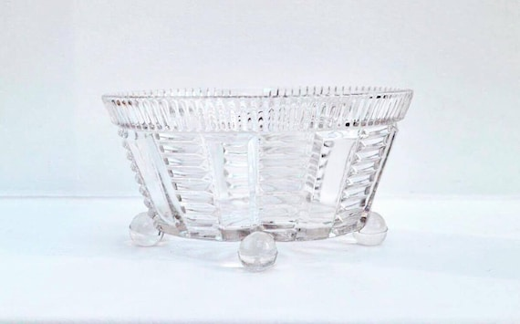 Vintage Footed Pressed Glass Fruits Bowl Art Deco  Bowl 1930's Geometric Shape fruit bowl