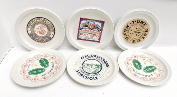 Cheese Plates France 6 French Advertising of the Brands 6 Plates Saint-Amand 1950s Vintage dinner dishes tableware Camembert roquefort