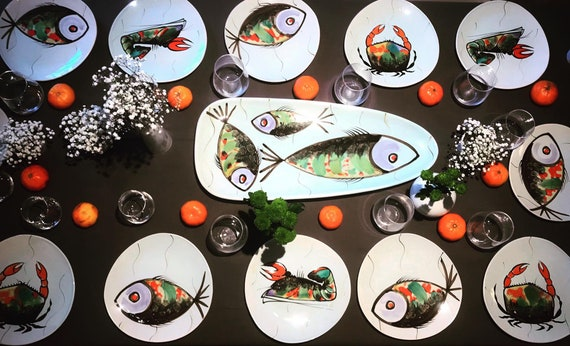 Fish Dinnerware French Lobster seafood platter French Fish Plate, Crab, Lobster, Shellfish, Seafood Table Centerpiece, Sea Decor MBFA Pornic