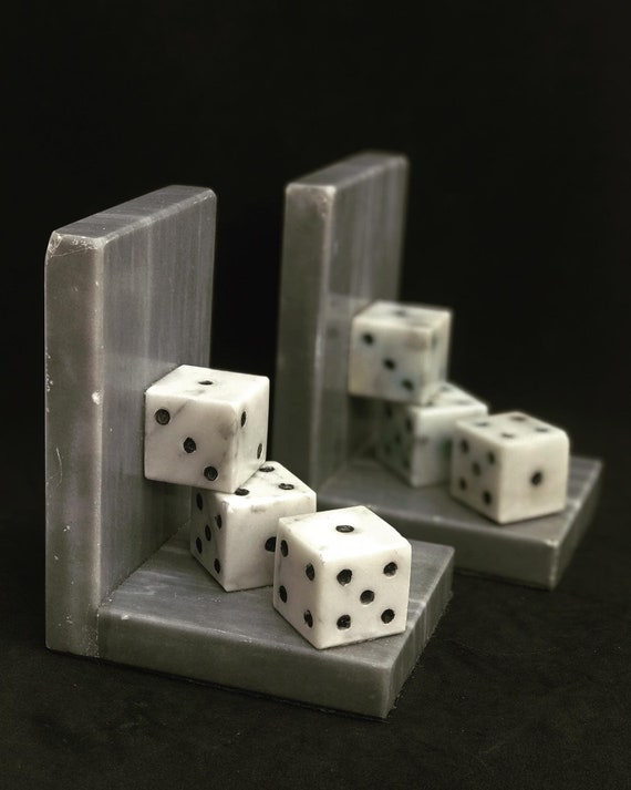 Marble Bookends Art Deco Bookends Gray with dices marble, beautiful patina  desk decor office decor