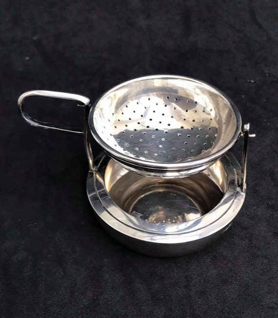 Tea strainer silver plated Vintage Tea Strainer with underplate, antique strainer hostess gift French gift for mom