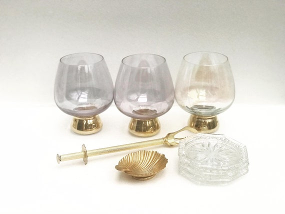 Bar set Gold decor 3 glasses coasters ice clamps small ashtray Vintage Colonial Golden set Bar accessories Mixology tools Hollywood Regency