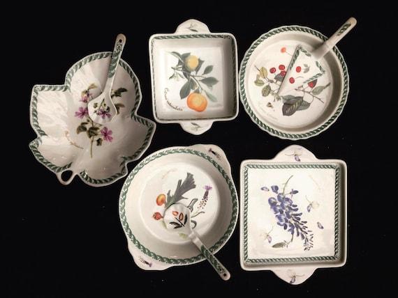 Appetizer set tapas dishes snack bowls TV tray lunch set Le Terrine Botaniche Porcelaine Tognana Vintage Mid Century Gift for him gift