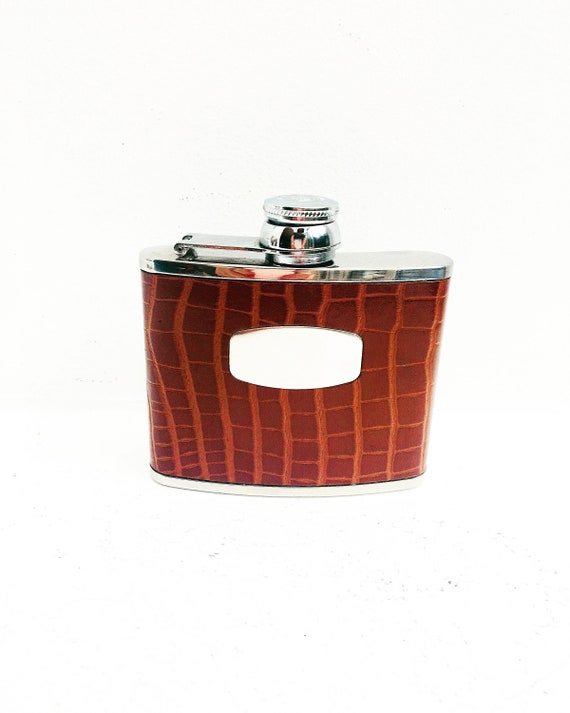 Hip Flask Marlborough of England Brown Vintage  Leather 4oz, gift for him, groom gift Leather