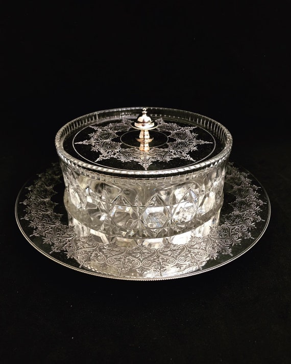 Victorian butter dish with lid crystal cut silver plated Antique lidded cheese jam pot condiments wedding gift English tableware decor