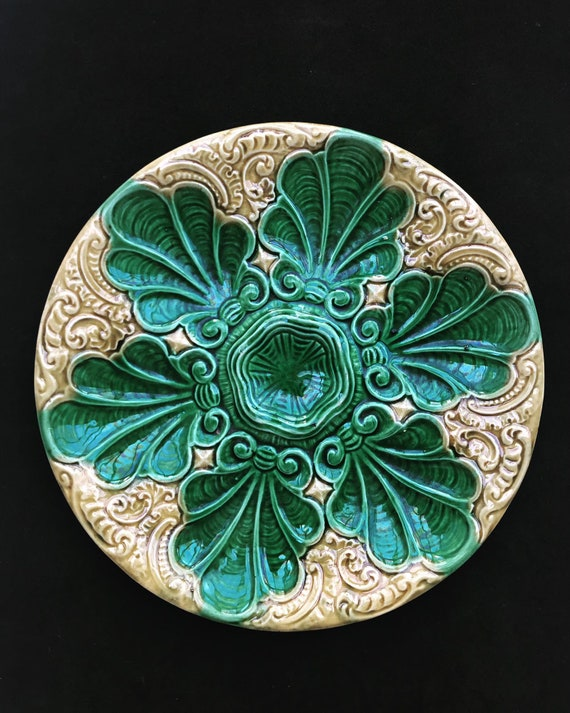 Antique Majolica oyster plate 19th Century Art Nouveau Yellow and Green Majolica Oyster Plate collectable glazed hand painted Collection