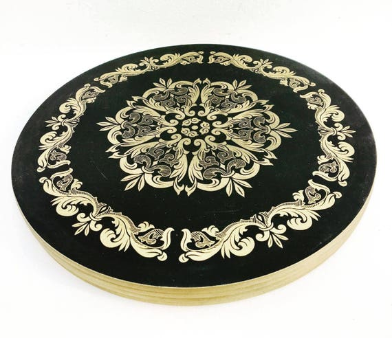 Cork Placemats Marlborough, 4  Gold and Black cork placemats Vintage 4 Clover Leaf Table Place Mats Cork , Boxed, English Placemats