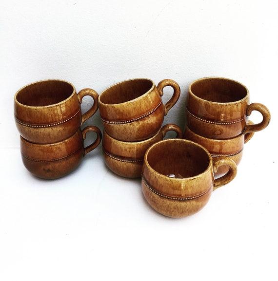 Old Höganäs Keramik Coffee cup or tea cups set of 7  Dinnerware Brown Scandinavian Design Sweden  Pottery  Mid Century Modern 70s