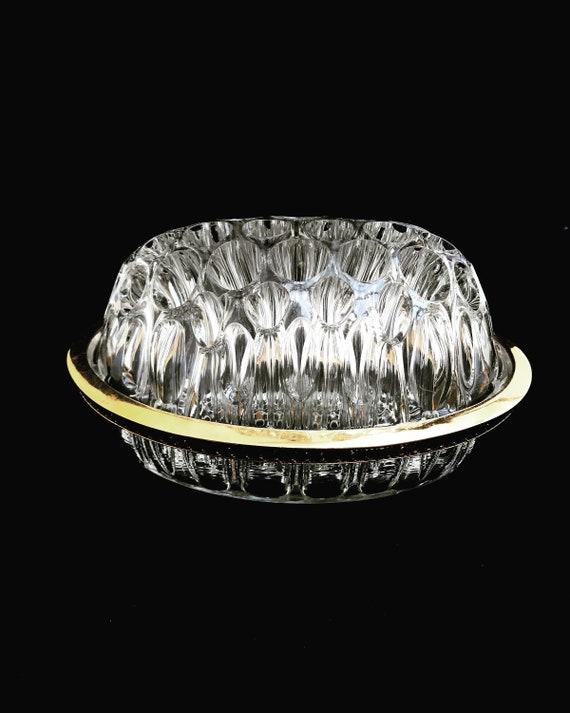 Glass Frog vintage molded glass with golden metal rim  Cut glass, flower frog Roses flower arrengement Hollywood Regency Decor table gift
