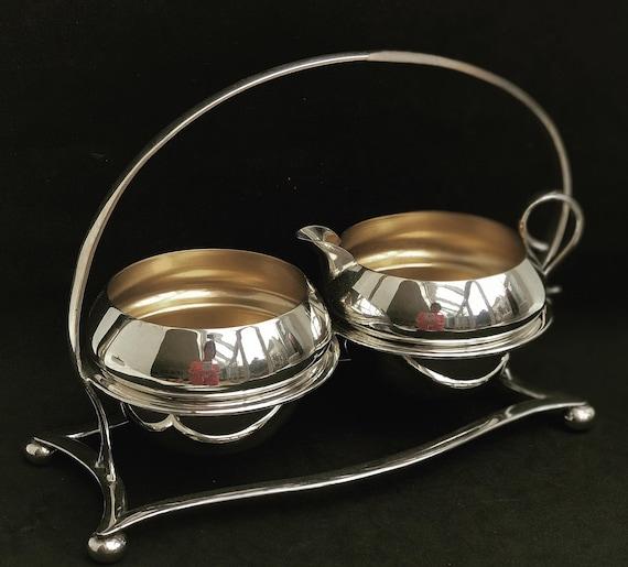 Victorian Milk Jug creamer and sugar bowl set, silver plated on holder by  George Unite Breakfast set jam bowl English tea table decor