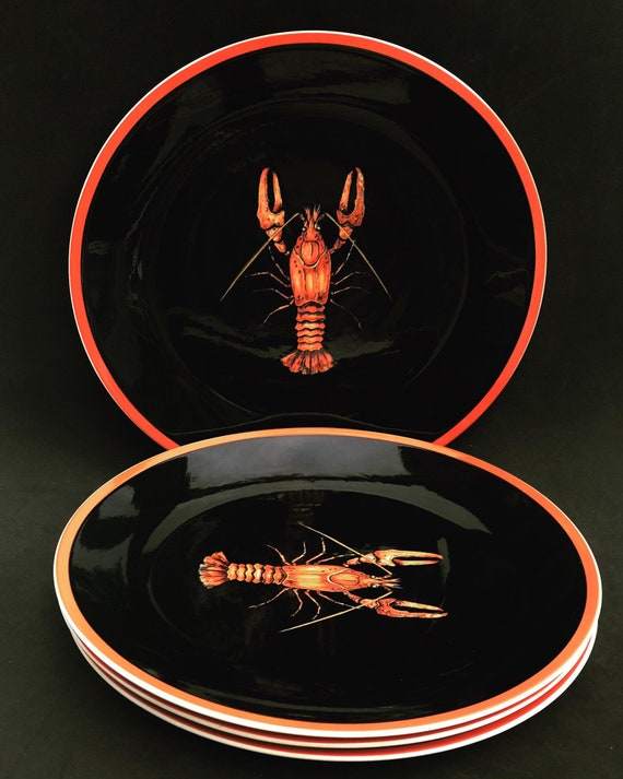 Lobster dishes Villeroy & Boch, Crayfish, Lobster Dinner Plate, Seafood Plates, Black and Red Dishes, Made in Luxembourg, Set of 4 Vintage