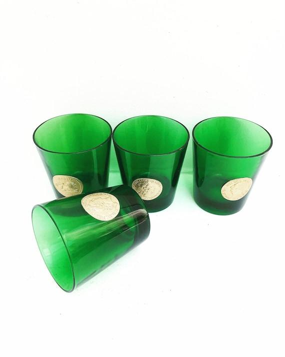 Green Emerald drinking glasses tumblers set of 4  bar cart decor Hollywood Regency gift for him man cave decor green gold bar decor