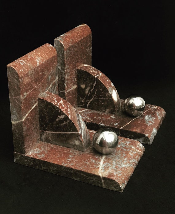 Top Bookends Art Deco Bookends burgundy black marble, cream and brown, beautiful patina, shaped circles Marble, light marble