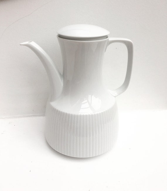 Coffee Pot Vintage Rosenthal Modulation Coffee  White Coffee Pot designed by Tapio Wirkkala 1960s German Porcelain white coffee pot teapot