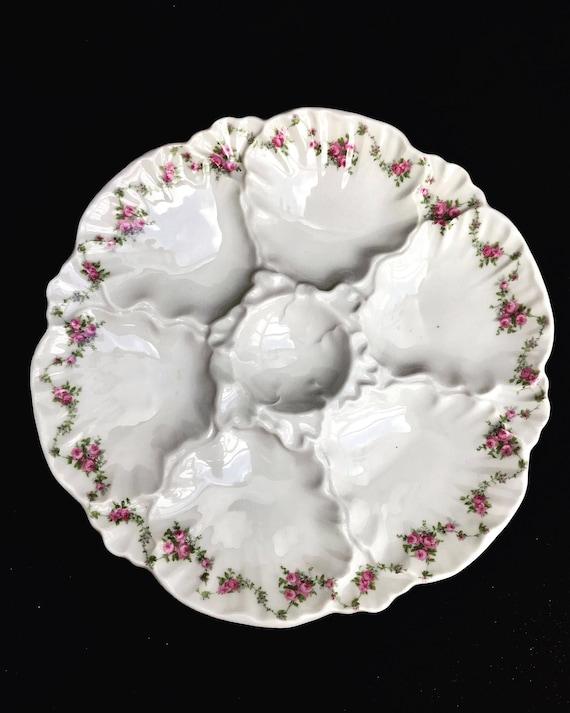 Antique porcelain oyster dish 1847 by DFB De Fuisseaux Baudour collectable roses pattern glazed hand painted
