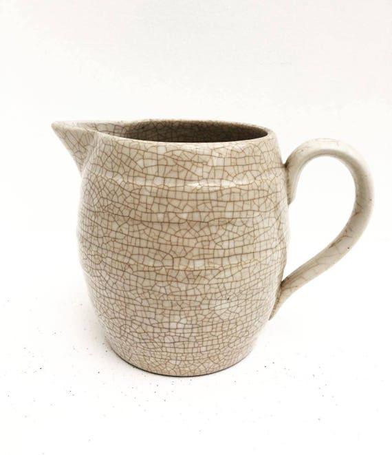 Vintage Laveno Milk Pitcher, Water Jug, Milk Jug Vintage Italian, Ceramic Company LAVENO - Made in Italy, Cream Pot, Crackeld ceramic