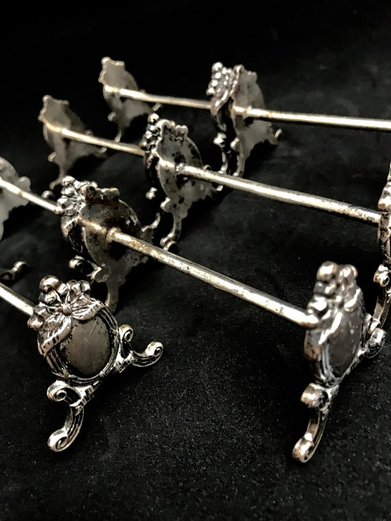 Knife Rests Antiques Set 12 Silver Plated 1930s Vintage Silver Plated Knife Holders  cutlery holders Elegant table wedding gift knifeholder