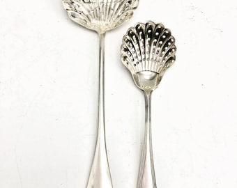 Sugar Sifter Spoon, Antique Silver Plated Large Sugar Sifting Spoon, Icing Sugar, Scallop Shaped Bowl, Pierced Hole Design, Old English,