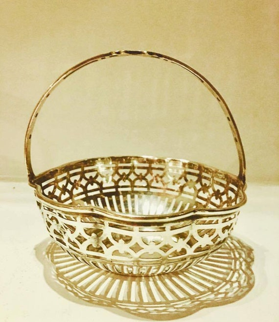 Candy dish silver plated Wiskemann praline chocolate basket, in silver metal, openwork candy geometric decorations gift for her, gift mum
