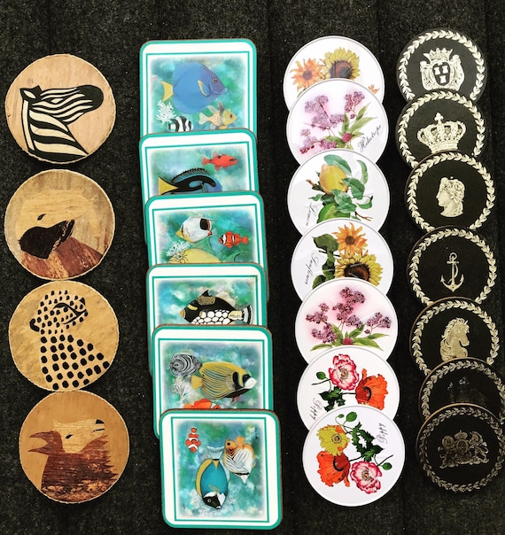 Coaster set Pimpernel Fish Botanica metal green gold coasters african bar decor bar cart deco table flowers cork coasters Collection gift