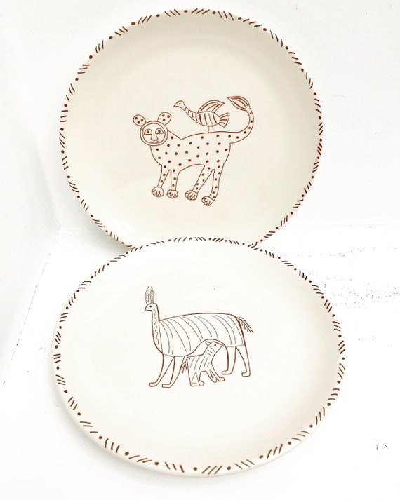 Decorative dishes hand painted animal naif llama guepard Child decoration pair of plates uniques