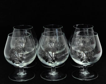 Glasses Cognac Napoleon  liquor Brandy  glass metal gift for him bar cart decor gift for dad collector