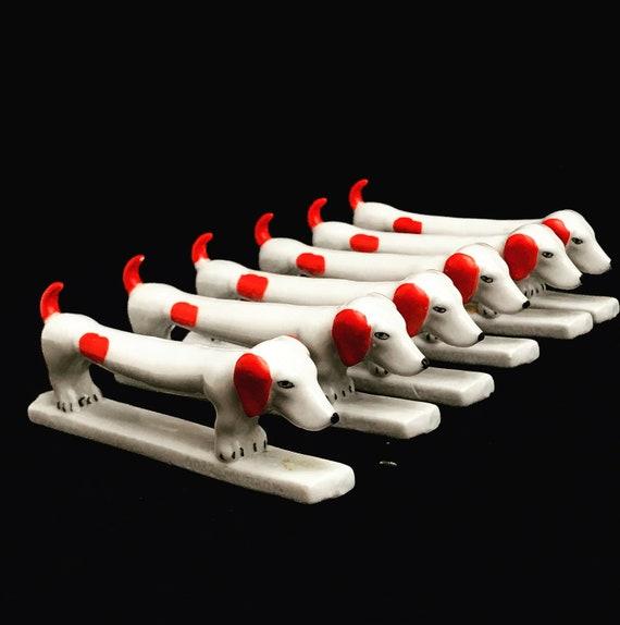 Art Deco Dog Dachshund Animal Knife Rests Vintage Set of 6 Porcelain French Cutlery Holders holiday table decor gift for dog lover tekkel