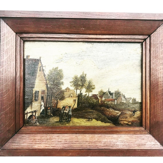 Painting original oil Landscape Conversation piece Country Farm Cottage and Church Country village art framed wall art British office decor