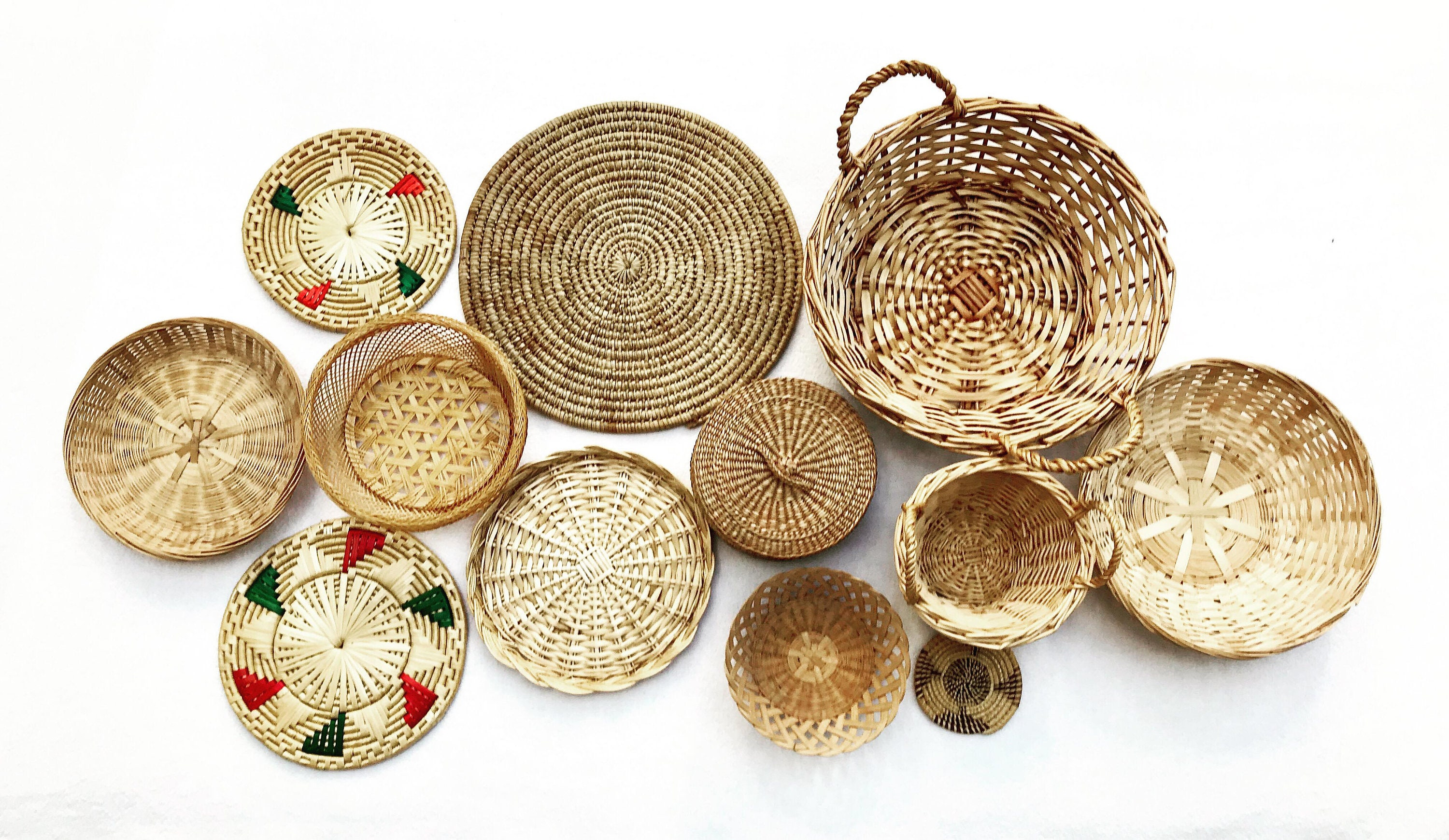 Boho wall art Woven Basket Wicker wall basket round rattan ...