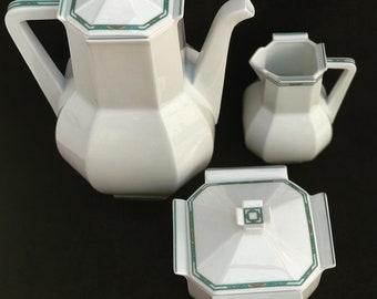 Porcelain Bernardaud Limoges Teapot or coffee pot sugar dish creamer  Paul Poiret Années 30s discontinued replacement white Art Deco