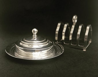Butter Dish and Toast rack holder Silver Plated Breakfast for 2 Set Vintage Toast Holder wedding gift Caviar Dish Antique English hostess