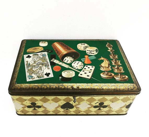 Vintage family Games box, Dominoe  multiple game set in box cards, poker dices, Mikado Canasta cards Bingo gift idea for men playing room