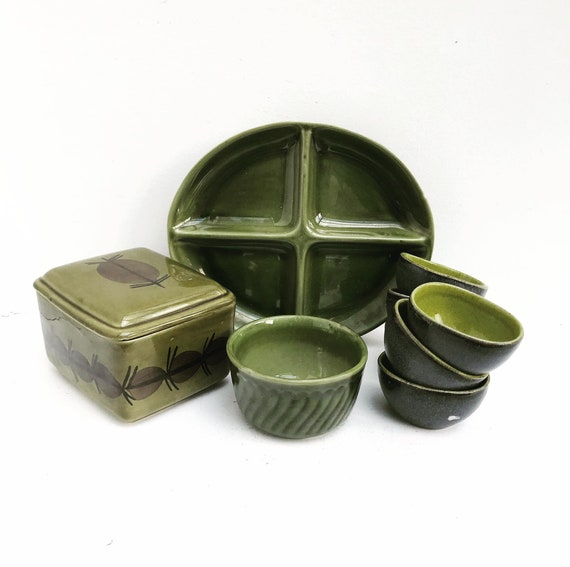 Green Pottery Boch Bowl dinnerware Appetizer set Belgium Trianon with handles dishes La Louviere Belgium Trianon model green dinnerware