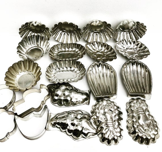 Vintage Molds Chocolate molds madeleines Mold Mousse Metal Cake Mold Cake Pan Pastry Shape  Farmhouse Pudding Terrine Aluminum Muffin Cake