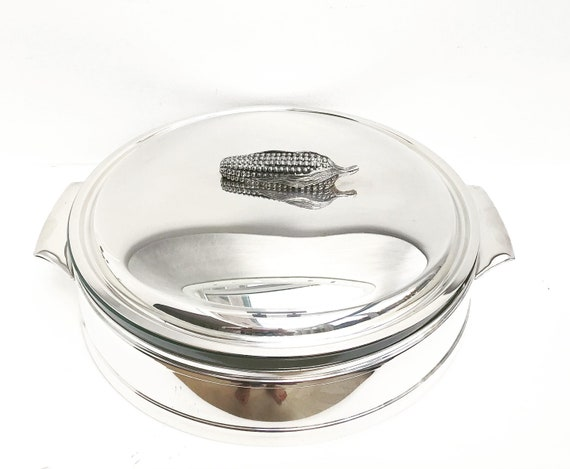 Lidded Service dish silver plated serving plate Chritsmas Vegetables plate, Thanksgiving vegetables Pyrex ovenproof gift for her fall table