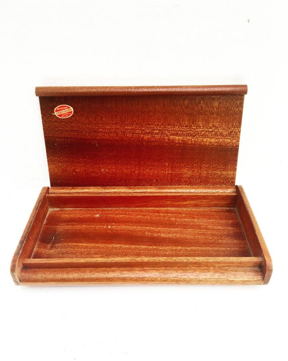 Wooden Box Mid Century casket Stamp Box AB Träfiness Linköping, Sweden box cigarettes Box cards box rings box 60s Gift for her Box Collector