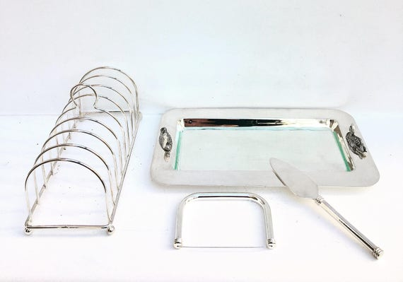 Cheese Serving Plate Toast Holder Silver Plate Foie Gras Serving Tray and Toast Rack with Slicer and Server Foie Gras Set Breakfast Set