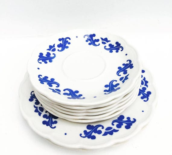 Saucers White and Blue , 6 pieces, Old China, Boch Frères, Belgium, 6 pieces, Service