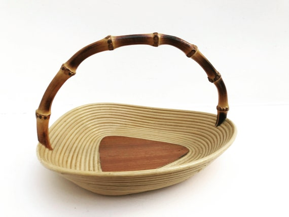 Bamboo Handle Basket Fruit centerpiece  Vintage Boho Chic decor bohemian table gift for her catch all vanity decor  Mid century 1960s