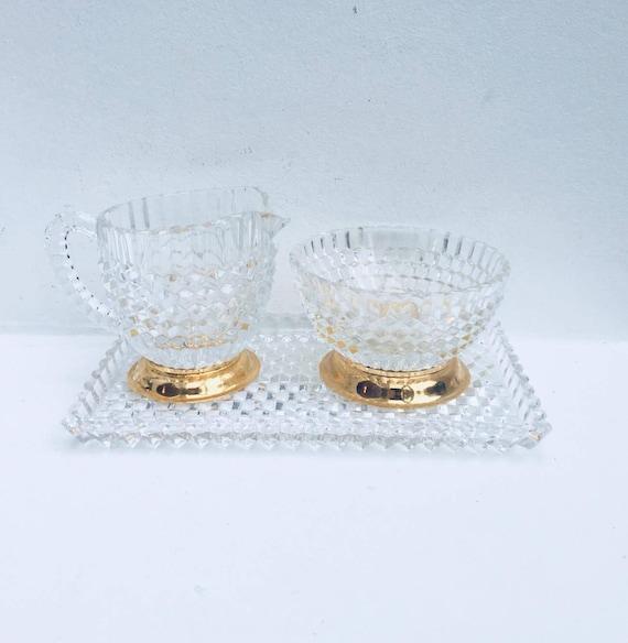 Vintage Cut Crystal Creamer Sugar Set Tray, Cut Crystal sugar bowl and creamer and tray set, Crystal Clear Glass Diamond Cut 3 Pieces set