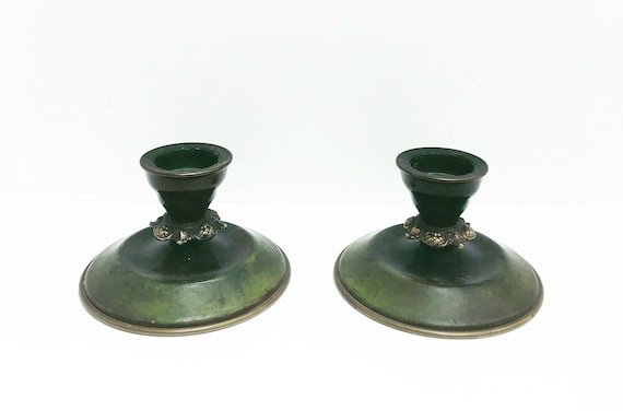 Art Deco Candle holders Bronze Green Patina Ildfast 1930s Denmark, H.F Aegte Pair  Candlestick holders desk decor Ashtray Catchall church