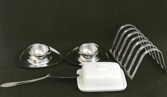 Breakfast set for two Alessi stainless steel two Alessi Alfra egg cups modernist toast holder made in Italy Mid Century Modern minimalist