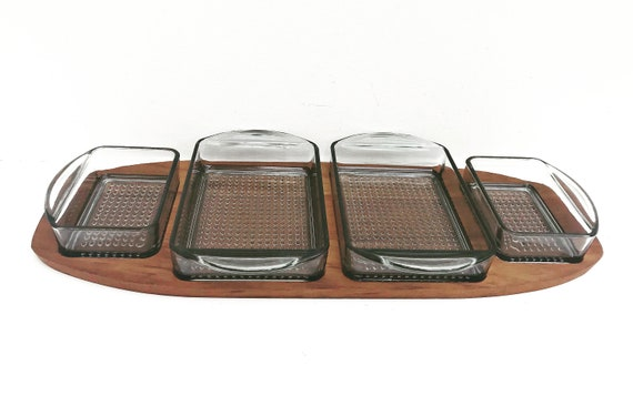 Teak Tray with Glass Bowls Danish 1960s Modern Mid Century teak serving tray or appetizer platter 4 smokey glass bowls  Denmark gift
