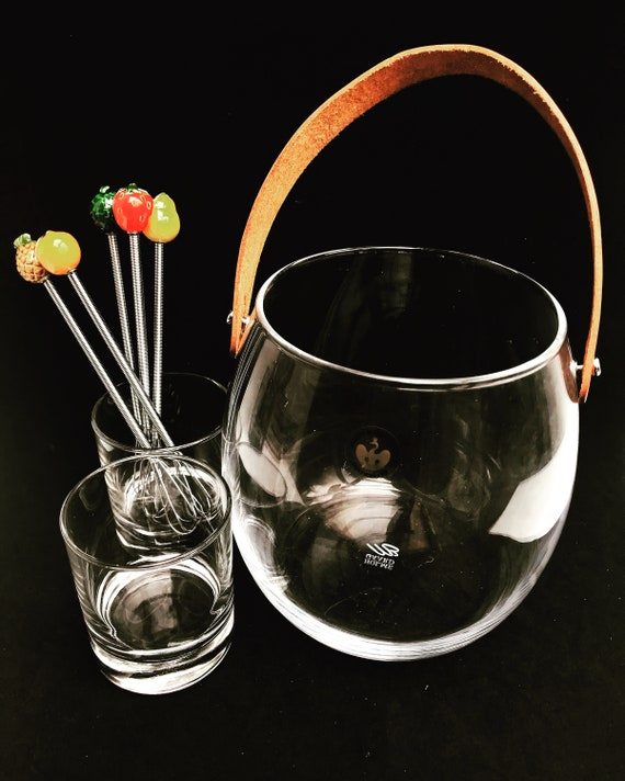 Holmegaard Glass Ice bucket and 2 cocktail glasses with stirrers bar cart decor tropical fruits gift for her bartender mixology tools bar