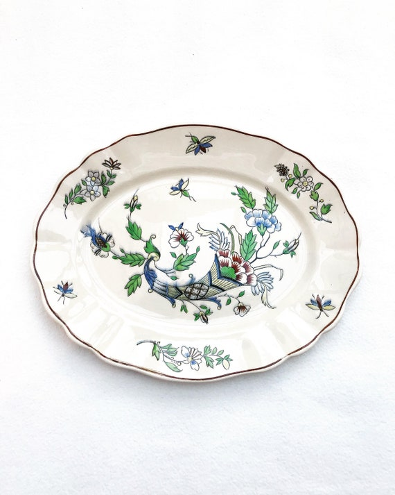 Antique Serving Dish Boch Freres Belgian Pottery Serving Plate 1940s shabby chic French country cottage Boch rim garden flowers  Collector